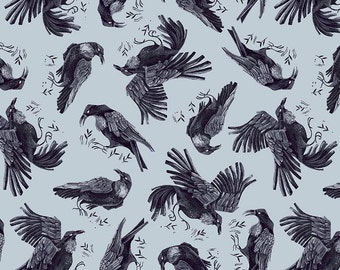Dear Stella Fabric Toil & Trouble Collection, Ravens (Crystal) (Stella-SRR1816)