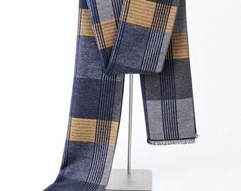 Men/'s 100/% CASHMERE SCARF Plaid Brown Olive Black Scotland Soft Warm Wool Wrap