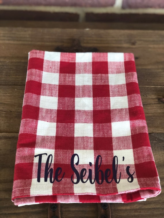 Red Checkered Hand Towel Etsy