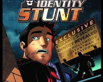 IDENTITY STUNT #1 (Markosia Publishing, Single Issue, 2018) Joe Khachadourian,  Ruairi Coleman, Action Thriller, Vigilante, Indie Comic Book