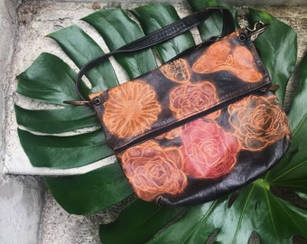 Vintage butterfly and flower print purse