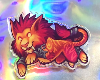 Red Feral Druid Acrylic Pin