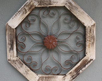 69357336c06 Wooden Antique Style Church WINDOW Wrought Iron Primitive Wood Rustic Gothic