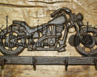 Motorcycle Couple Black Metal Towel Rack /& Shelf