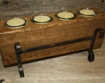 8ea74374d3 4 Hole Wooden Sugar Mold Wood Candle Holder Primitive Clear Glass Votive