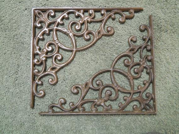 4 Cast Iron Antique Style GRAPES /& VINE Brackets Garden Braces Shelf Bracket