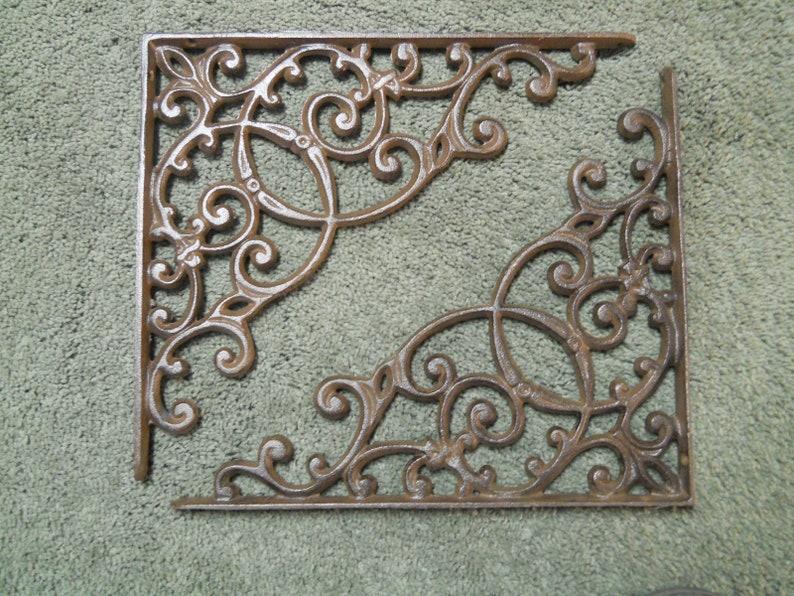 2 Cast Iron Antique Style HUGE Brackets Garden Braces RUSTIC Shelf Bracket Brace