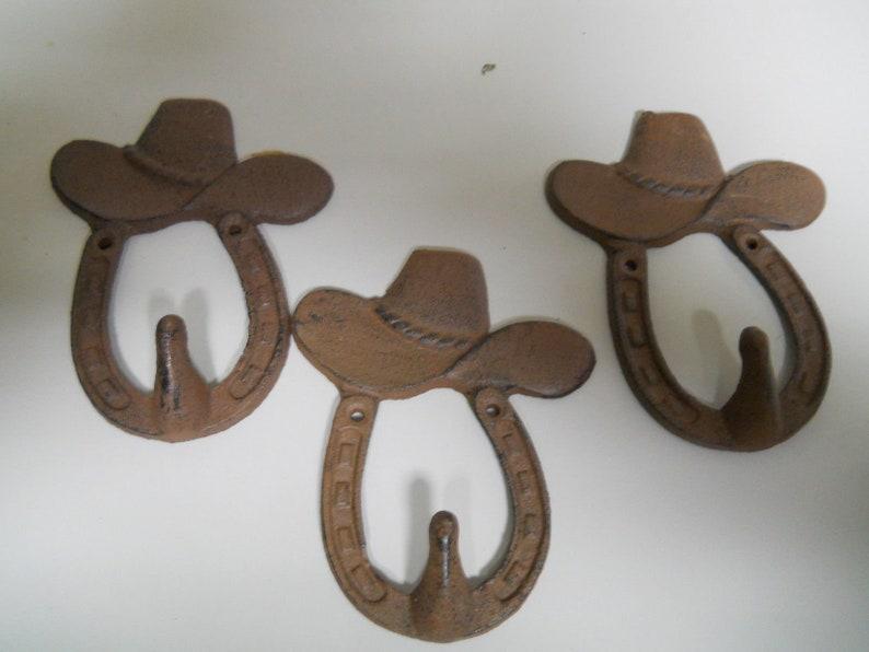 Cast Iron Rustic Ranch STAR 1 HOOK Coat Hooks Rack Towel HorseShoe
