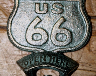 Cast Iron ROUTE US 66 Plaque OPEN Here Beer Bottle Opener Western Wall Mount
