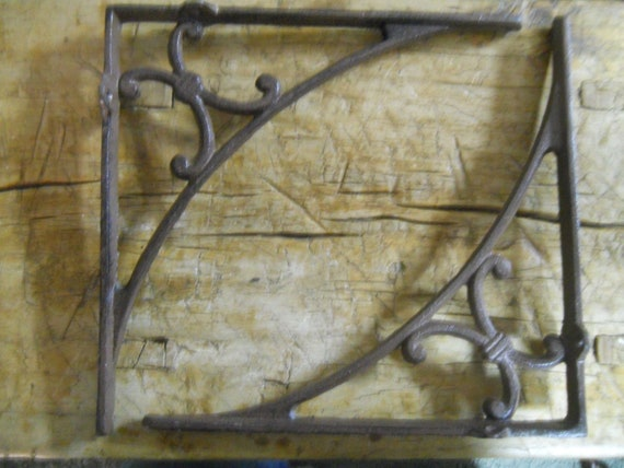 Garden Braces Shelf Bracket 2 Cast Iron Antique Style LARGE Art Deco Brackets