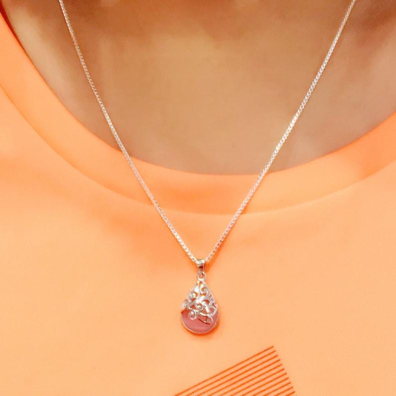 Hollow out Necklace Tiny quartz pendant Necklace Locket gem Necklace Tiny quartz Jewelry Silver locket stone Locket Gift women Drop locket