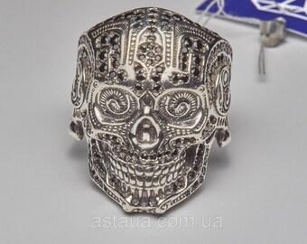 Skull ring,skull men ring,Sterling Silver 925