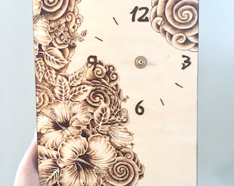 Wood burned hibiscus flowers on cradked birch canvas with clock