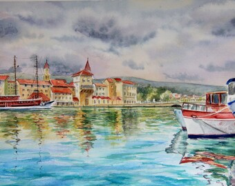Seascape original watercolor painting,Boats watercolor painting,Beautiful watercolor painting,Gift for her,Gift for Him,Seascape watercolor