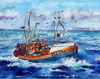 Original watercolor,Painting,Lucy,Watercolor painting,gift for man,Birthday present,Ship,Sea