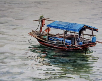 Original watercolor painting,Vietnam,Boat watercolor painting,Beautiful watercolor painting,Gift for her,Gift for Him,Seascape watercolor
