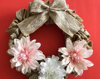 Floral Lace Burlap Wreath