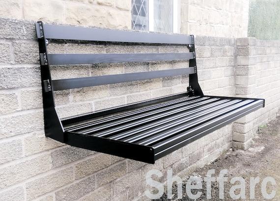 Awe Inspiring 2 Seat Space Saving Wall Mounted Fold Away Fold Up Metal Garden Seat Bench Chair Theyellowbook Wood Chair Design Ideas Theyellowbookinfo
