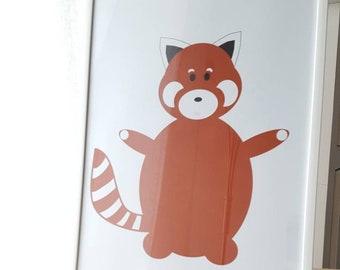 """A4 """"Mammidoux"""" Red Panda print"""