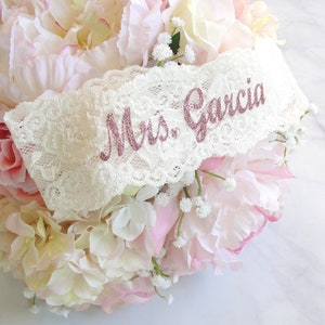 70+ Colors Prom Garter Wedding Garter Garter Bridesmaid Gifts Pink Mrs Custom Text Rose Gold Bridal Personalized Garter