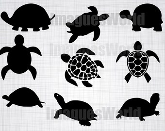 Turtle SVG Bundle, Turtle SVG, Turtle Clipart, Turtle Cut Files For Silhouette, Files for Cricut, Turtle Vector, Dxf, Png, Turtle Decal