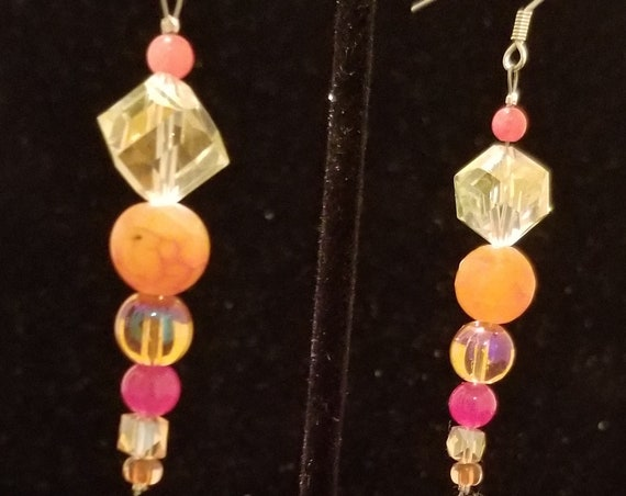 076E Orange Sherbet Earrings Only