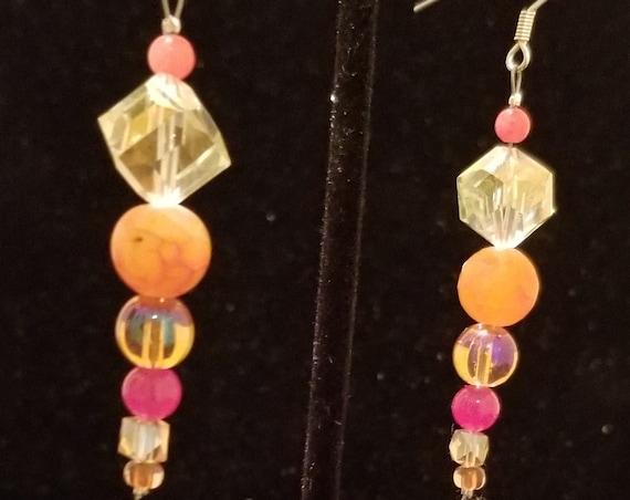 076E Orange Sherbet Earrings Only
