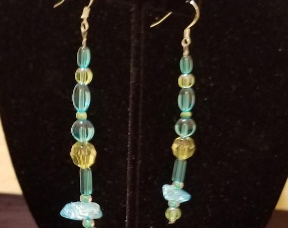 039E Aqua Green Stone Glass Earrings Only