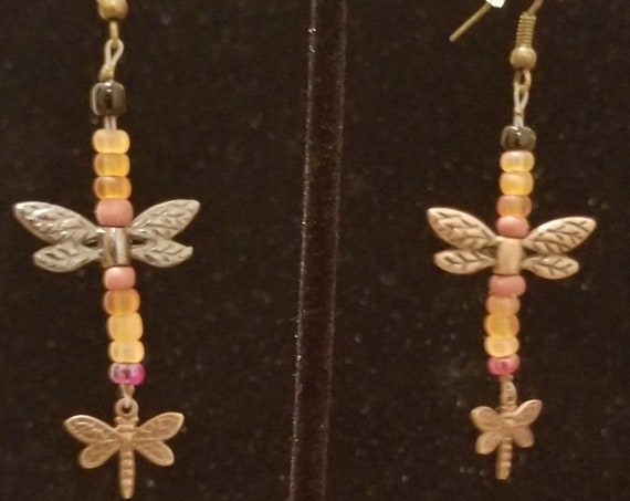 064E Earthy Dragonflies Earrings Only