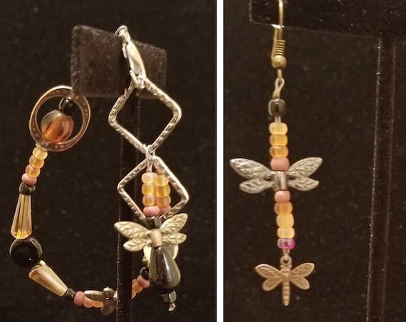 064BE Earthy Dragonflies Earrings & Bracelet(s) Only