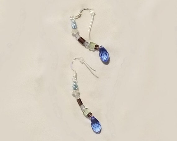 100E Pale Blue Crystals Earrings Only
