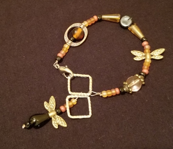 064B Earthy Dragonflies Bracelet(s) Only