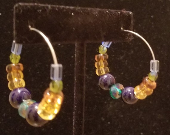 032E Muted Starry Night Earrings Only