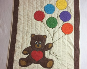 Teddy Bear and Balloons Baby Quilt/wrap/blanket