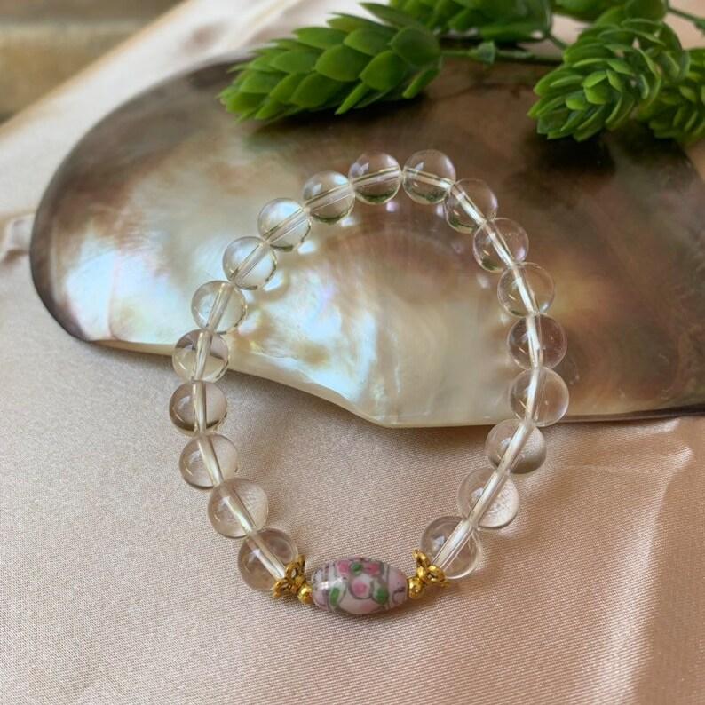 White quartz  bracelet phantom quartz bracelets unisex Yoga bracelet Quartz Crystal White Bead Bracelet,Woman bracelet