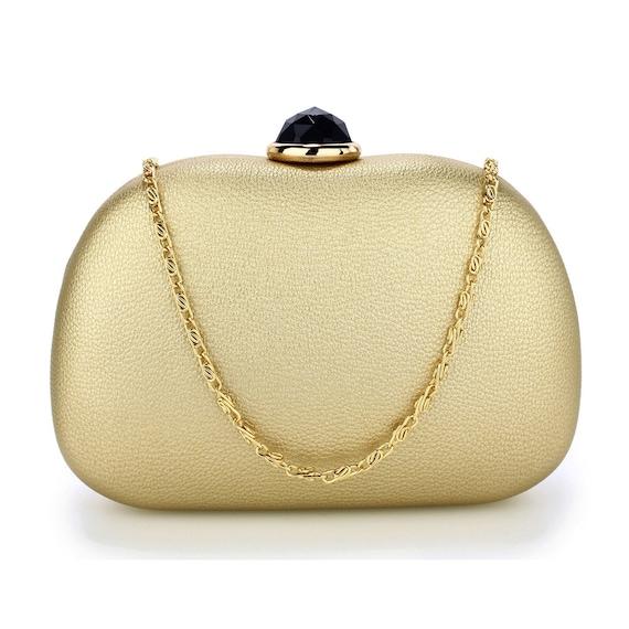 0870e8cfee Goregous Gold Hard Case Rhinestone Evening Clutch Bag