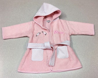 Personalized baby girl bathrobe with embroidered sheep 904eed18c