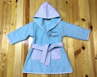 Baby bathrobe with monogram, Mint terry toddler bath robe, Name embroidered gift, Infant bath robe, Baby shower, Premium toddler robe unisex