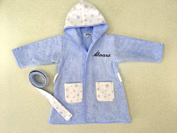 2f43177fbb White and blue monogram baby terry cloth robe with hood