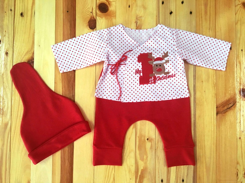 Reindeer coming home outfit My first christmas legging Baby girl 1st Christmas outfit Baby boy first Christmas outfit Red baby Christmas