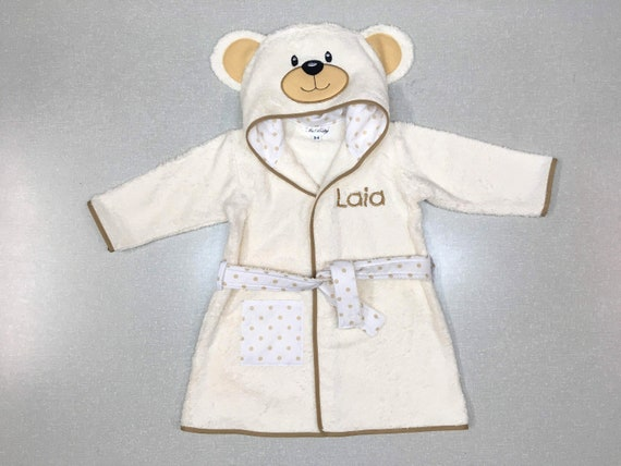 Personalised Embroidered Baby Girl/'s Teddy Bear Pink Bath Robe Dressing Gown