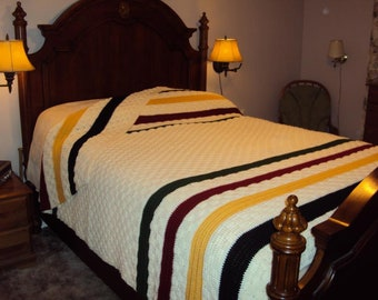 Hudson Bay Crocheted Afghan, Replica, Bedspread