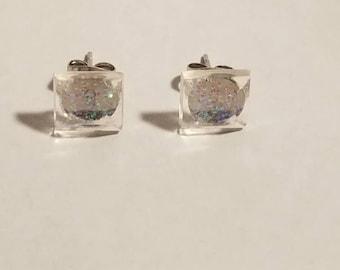 Glistening square glitter stud earrings, stud earrings, square studs