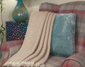 Soft Warm Himalayan Cashmere Throw Blanket Cream Colour Hand-loomed Sofa Throw