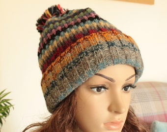 a0a3663a0ac Mix Colour Warm 100% Nepalese Himalayan Quality wool hat Cap Handmade Wool  Hat polyester lining Winter Hat