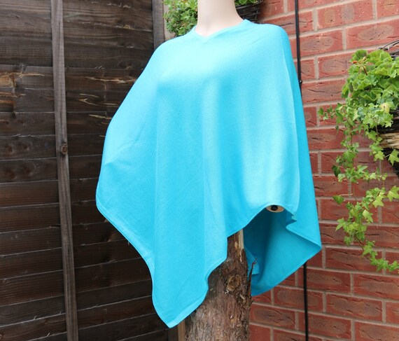 Cashmere Turquoise Size poncho Handmade cashmere One Jumper colour Pashmina Sweater wool wqqFrBUWI