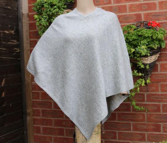 soft Grey warm handmade Quality poncho cashmere and IqTqvg