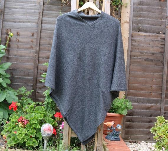 Colour poncho handmade Cashmere CHARCOAL wool ZRrwZa