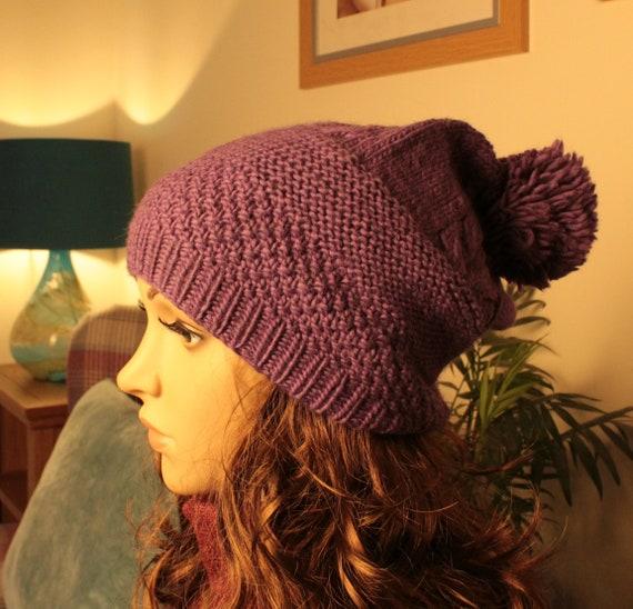 1295bc0e0da Purple colour 100% merino wool hat Handmade