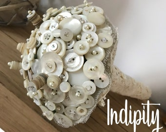 Wedding Bouquet, Button Bouquet, Mother of Pearl